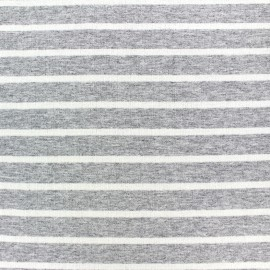 Light striped viscose jogging Fabric - white/light grey x 10cm