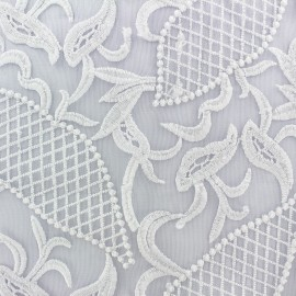 Embroidered on Tulle Lace Fabric  Jasmine - white x 10cm