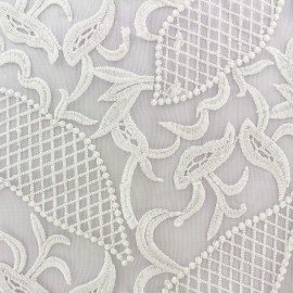 Embroidered on Tulle Lace Fabric  Jasmine - ecru x 10cm