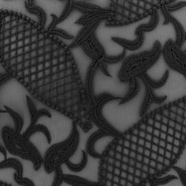 Embroidered on Tulle Lace Fabric  Jasmine - black x 10cm