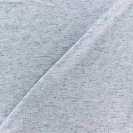 Tissu Maille légère lin pailleté - bleu x 10cm