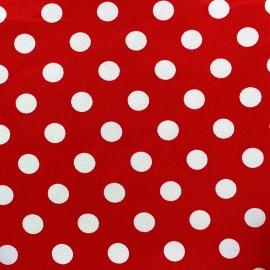 Tissu Gabardine coton pois blanc fond rouge x 10cm