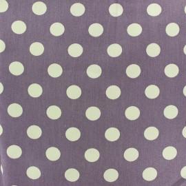 Tissu Gabardine coton pois blanc fond mauve x 10cm