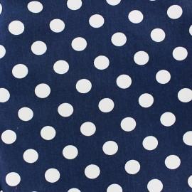 Tissu Gabardine coton pois blanc fond marine x 10cm