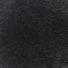 Tissu Dentelle de Calais® Fleurs Noir x 10cm