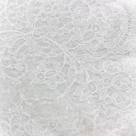 Tissu Dentelle de Calais® Fleurs blanc x 10cm