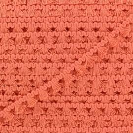 Galon mini pompon frange - corail x 1m