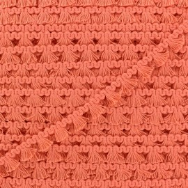 Mini pompom/fringe braid trimming - coral x 1m
