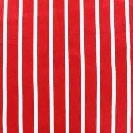 Tissu coton sergé rayures blanc/rouge x 10cm