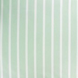 Tissu coton sergé rayures blanc/vert clair x 10cm