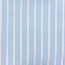 Tissu coton sergé rayures blanc/ciel x 10cm
