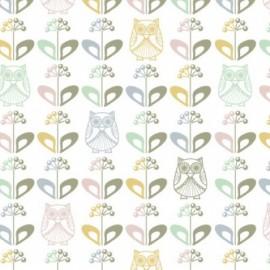 Coated cotton Fabric Mme Hibou au jardin scandinave  x 10 cm