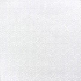 Tissu coton brodé Caroline - blanc x 10cm
