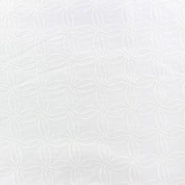 Tissu coton brodé Julie - blanc x 10cm