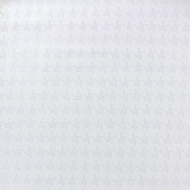 Tissu coton dévoré Pied de poule - blanc x 10cm