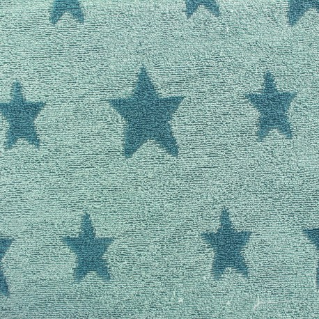 tissu velours ponge coton stars bleu canard iceberg x 10cm ma petite mercerie. Black Bedroom Furniture Sets. Home Design Ideas