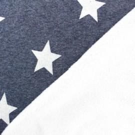 Tissu sweat envers minkee denim/blanc grandes étoiles pailletées blanches x 10cm