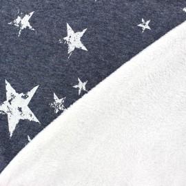 Denim sweat reversible minkee fabric Old Stars - white x 10cm