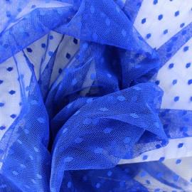 Tulle Bran Point d'esprit - bleu roy x10cm