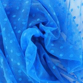 Tulle Bran Point d'esprit - bleu x10cm