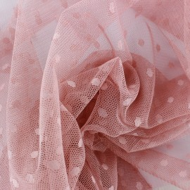 Tulle Bran Point d'esprit - vieux rose x10cm