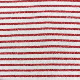 Tissu jogging Marinière - rouge x 10cm
