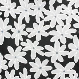 Tissu mousseline Marguerite - noir x 20 cm