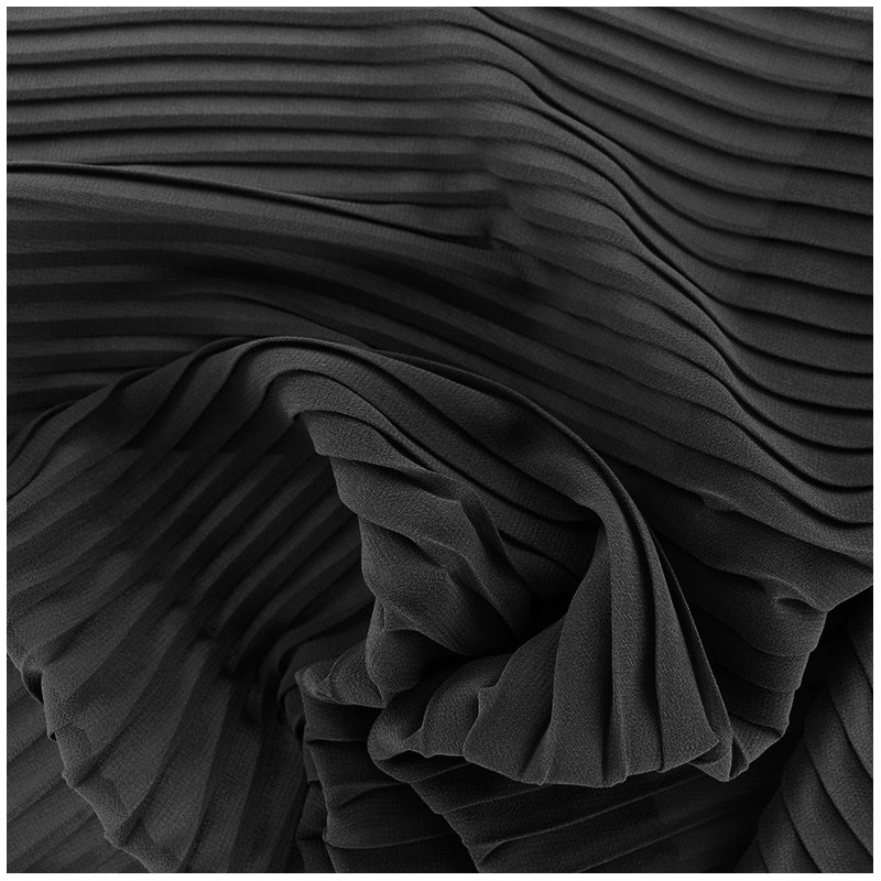 tissu cr pe l ger pliss noir x 50cm ma petite mercerie. Black Bedroom Furniture Sets. Home Design Ideas