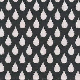 Coated cotton fabric Teardrops Big - almost black  x 10cm