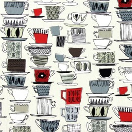 Varnished and coated cotton fabric Cups and saucers - pomegranate  x 65cm