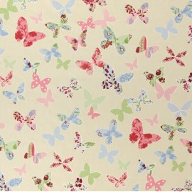 Varnished and coated cotton fabric Butterfly - vintage  x 65cm