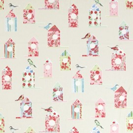 Varnished and coated cotton fabric Aviary - vintage x 65cm