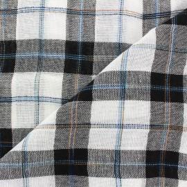 Light linen viscose fabric Carreaux - black and white x 10cm