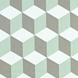 Varnished and coated cotton fabric Cube - aqua  x 10cm