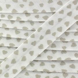 Stitched Cotton Bias binding, Love - beige