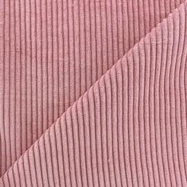 Tissu velours grosses côtes rose x10cm