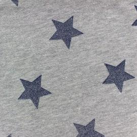 Light grey sweat fabric Glittery Stars  - navy blue x 10cm