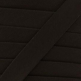 Gros grain aspect bias - dark brown x 1m