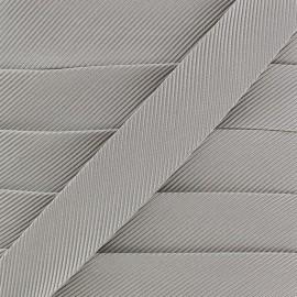 Gros grain aspect bias -silver x 1m