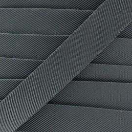 Gros grain aspect bias -steel x 1m