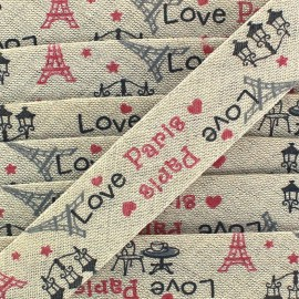 Bias binding -Linen/cotton - Love Paris x 1m