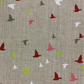 Tissu lin Etourneaux - lin/corail x 10cm