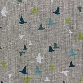 Tissu lin Etourneaux - lin/bleu x 10cm