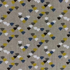 Tissu lin Triangle - jaune/bleu x 10cm