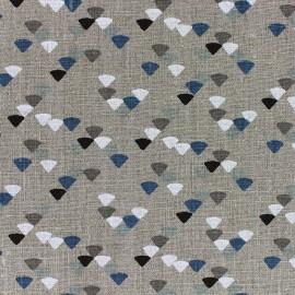 Tissu lin Triangle - bleu x 10cm
