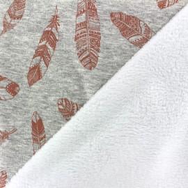Tissu sweat envers minkee Plumes - chocolat/gris x 10cm