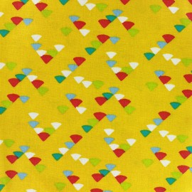Coated cotton fabric Triangle multi - yellow x 10cm