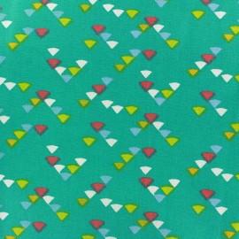 Coated cotton fabric Triangle multi - céladon x 10cm