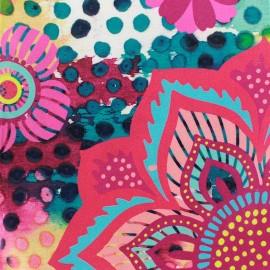 Coated cotton fabric Favela - pink x 50cm