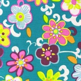 Coated cotton fabric Xia - emeraude x 20cm